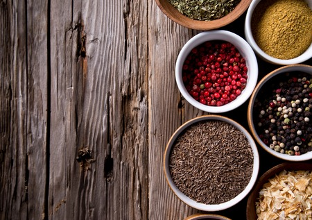 badian: Assorted spices on wooden background