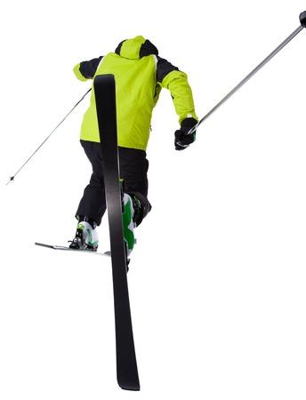 Man skier freestyler jumping on white background photo