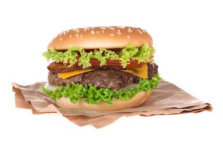 Delicious hamburger on white  photo