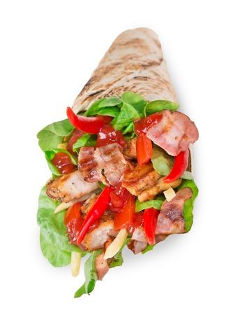 fajita: Chicken slices in a Tortilla Wrap with Lettuce over white