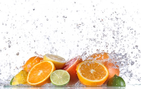 orange splash: Fresh fruit with water splash