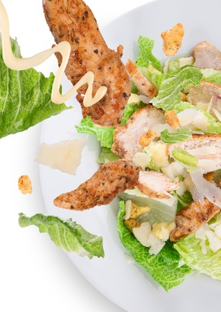 Caesar salad with chicken and greens  photo