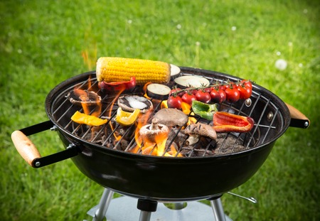 Grilled vegetables on the grill, close-up  Stock Photo