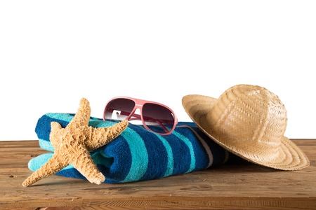 Close-up of summer accessories on white background  photo
