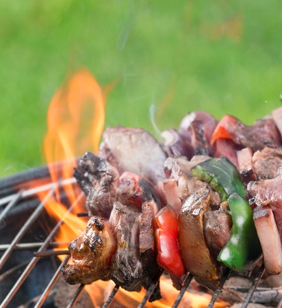Tasty skewers on the grill, close-up  photo