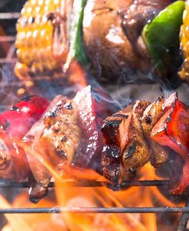 kabob: Tasty skewers on the grill, close-up