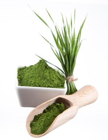 Young barley and chlorella spirulina  Detox superfood  Stock Photo