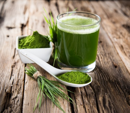 detox: Young barley and chlorella spirulina  Detox superfood  Stock Photo