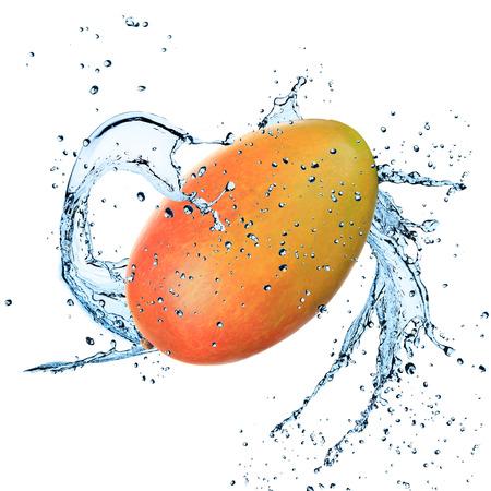 mango isolated: Mango with water splash isolated on white