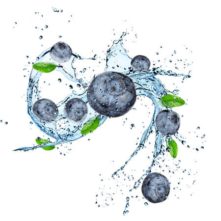 Fresh fruit with water splash over white  Stock Photo