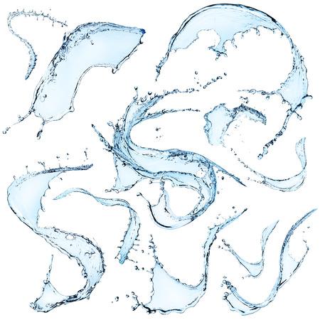 Water splashes over white