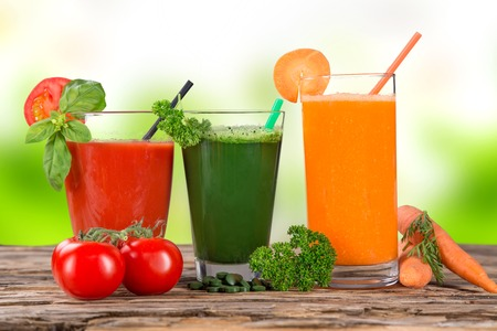 juice bar: Fresh fruit and vegetable juice, healthy drinks  Stock Photo