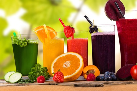 tomato juice: Fresh fruit and vegetable juice, healthy drinks  Stock Photo