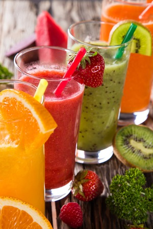 Fresh fruit and vegetable juice, healthy drinks  Stock Photo