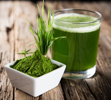 black powder: Young barley and chlorella spirulina  Detox superfood  Stock Photo