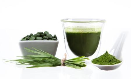 barley: Young barley and chlorella spirulina  Detox superfood  Stock Photo