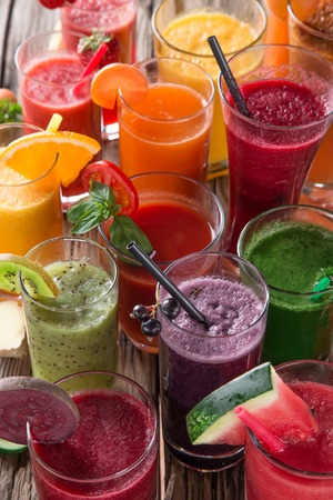 juice bar: Fresh juice mix vegetables and fruit, healthy drinks on wooden table