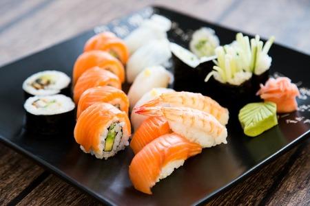 nigiri: Japanese seafood sushi set on black  Stock Photo