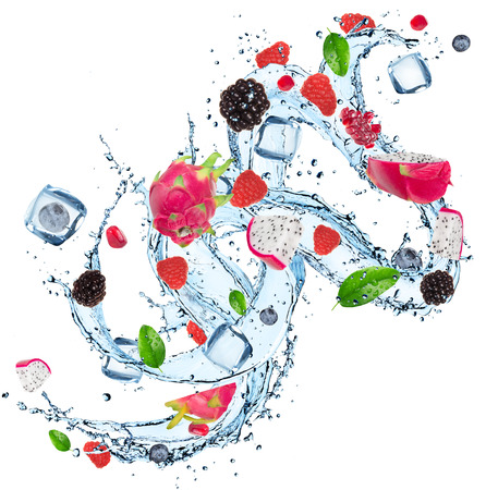 Fresh fruit with water splash over white background photo