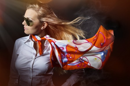 saxy: Fashion accessories, young pretty woman with flying scarf
