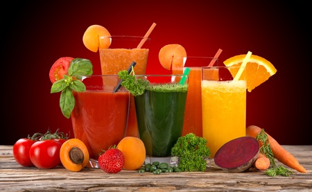 Fresh juice mix fruit, healthy drinks on wooden table  photo