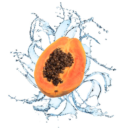 Fresh papaya with water splash over white background