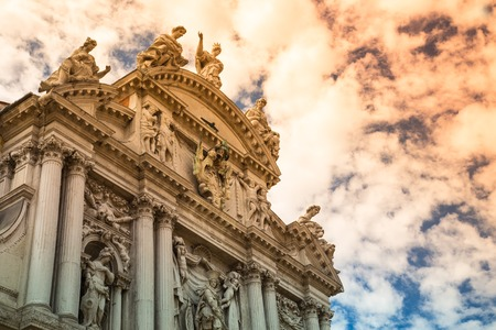 Facade of famous church on the Grand Canal in Venice, Italy, Europe  photo