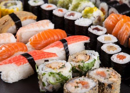 sushi plate: Delicious sushi set Stock Photo