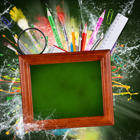 splash back: School supplies with blackboard, abstract background, close-up