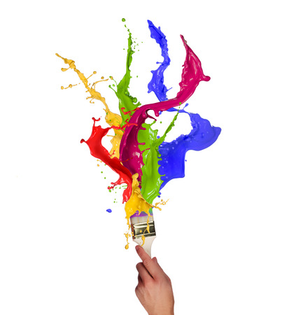 paintbrush spray: Colored paint, abstract shapes, close-up  Stock Photo
