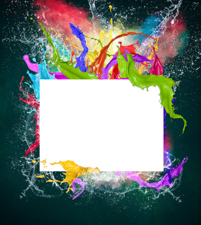splash back: Colored paint, abstract shapes, close-up  Stock Photo