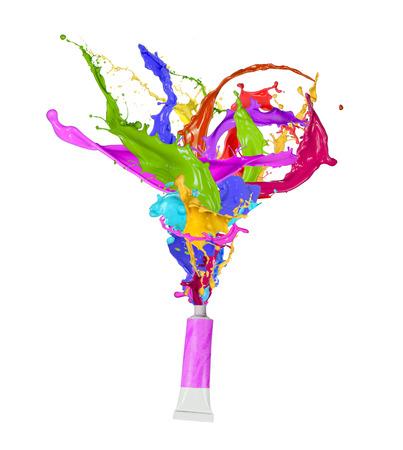 red tube: Pintura de colores, formas abstractas, primer plano