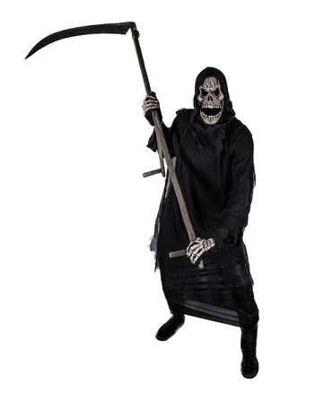 Grim Reaper: Grim reaper on a white background, halloween background. Stock Photo