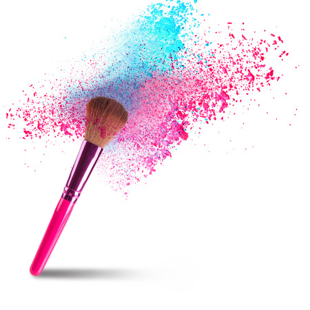 brush in: professional make-up brush with dust in motion.