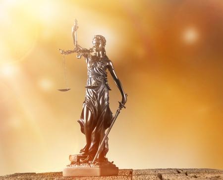 Themis in spotlight - concept of justice. photo