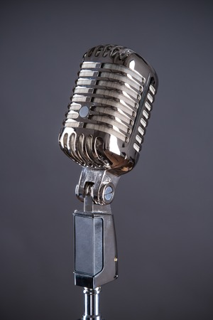 retro microphone: Retro microphone against grey background