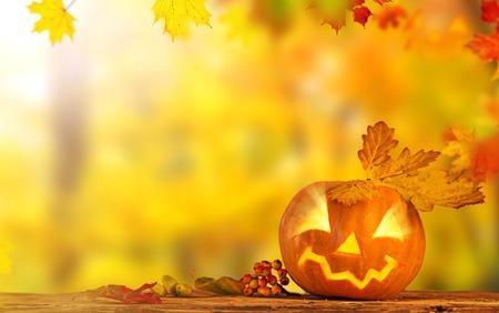 jack up: Scary jack o lantern halloween background, close-up. Stock Photo