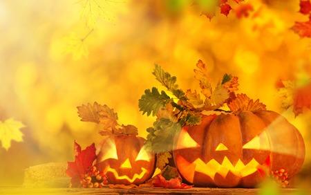 Scary jack o lantern halloween background, close-up. photo