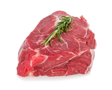 mignon: Delicious Beef steak on white background, close-up