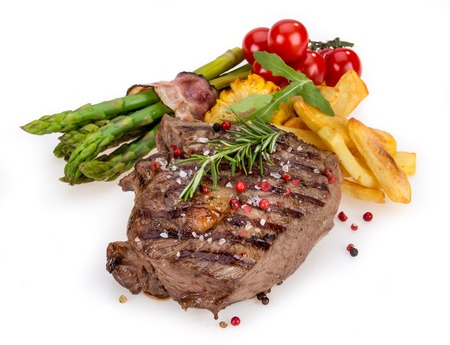 mignon: Delicious Beef steak on white background, close-up. Stock Photo