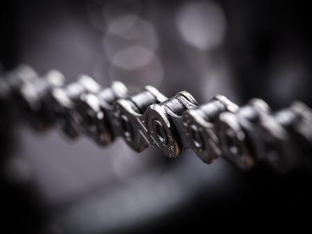 steel chain: Macro shot of mountain bike chain, studio shot.
