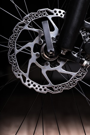 sprocket: Part of Mountain Bike brake dis, close up Stock Photo
