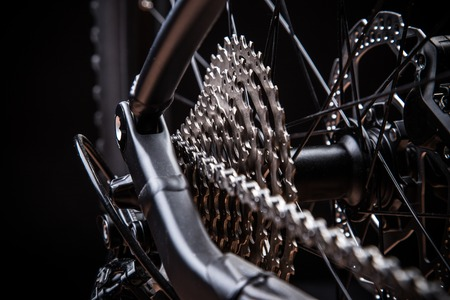 sprocket: Rear mountain bike cassette on the wheel, studio shot.