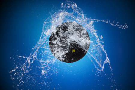 Sport ball with water splash