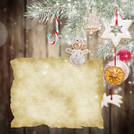 festive occasions: Christmas decorations on wooden background.
