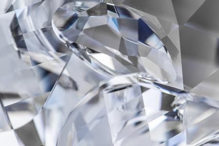 fake diamond: Close-up of cutted glass, macro shot. Stock Photo