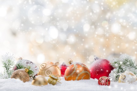 christmas snow: Abstract Christmas background, close-up. Stock Photo