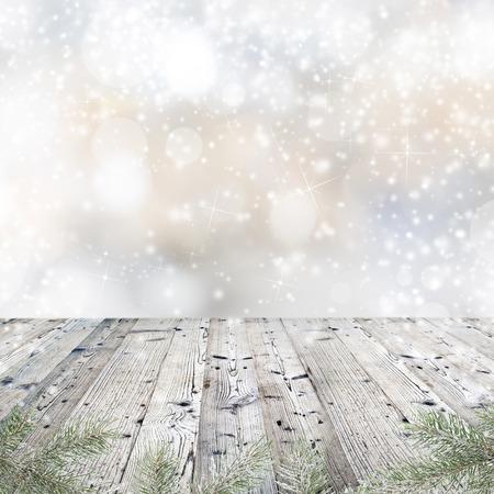 クリスマスの装飾と木のテーブル 写真素材