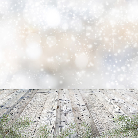 bokeh: Wooden table with Christmas decorations Stock Photo