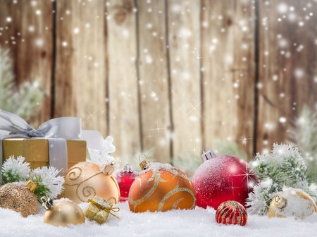 Christmas decorations on wooden background. photo